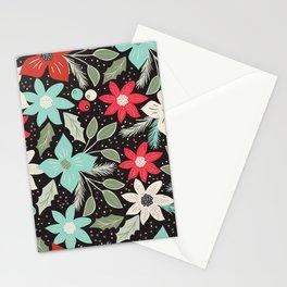 Folk Christmas Poinsettias Stationery Cards