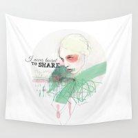 fashion illustration Wall Tapestries featuring FASHION ILLUSTRATION 16 by Justyna Kucharska