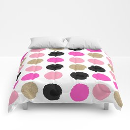 Finley - Abstract colorful brushstroke dots in gold and pinks Comforters