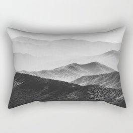 Glimpse - Black and White Mountains Landscape Nature Photography Rectangular Pillow
