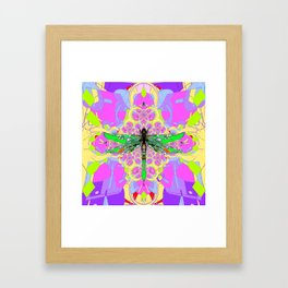Emerald Green Dragonfly Pink Abstract Framed Art Print