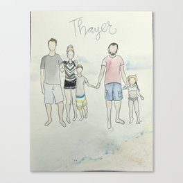 (Do not purchase example art!) customized family portrait Canvas Print