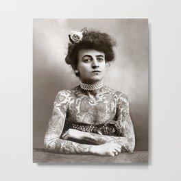 Tattooed Lady, 1907. Vintage Photo Metal Print