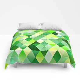 Lime Green Yellow White Diamond Triangles Mosaic Pattern Comforters