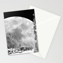 California Dream // Moon Black and White Palm Tree Fantasy Art Print Stationery Cards