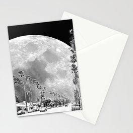 California Dream // Fantasy Moon Beach Sidewalk Black and White Palm Tree Silhouette Collage Artwork Stationery Cards