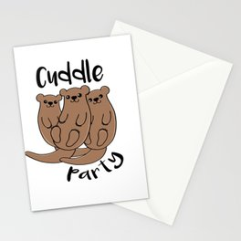 otter cuddle party Stationery Cards