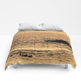 Golden Hour on the Sea Comforters
