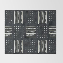 Mud cloth in black and white Throw Blanket