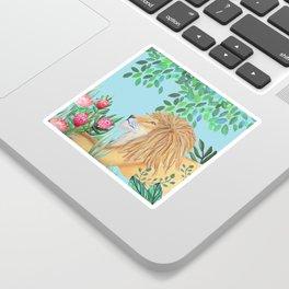 lion, jungle tropical rain forest zen botanical Sticker