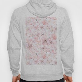 Flamingo and Tropical Flower Pattern Hoody