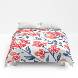 Cherry Blossoms – Melon & Navy Palette Comforters