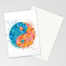 yin and Yang Symbol Watercolor painting Stationery Cards