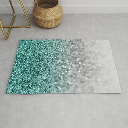 Silver Teal Ocean Glitter Glam #1 #shiny #decor #art #society6 Rug