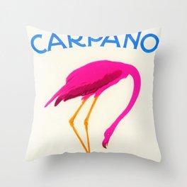 Vintage Carpano Pink Flamingo Motif Vermouth Advertisement Poster Throw Pillow