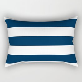 Oxford blue - solid color - white stripes pattern Rectangular Pillow