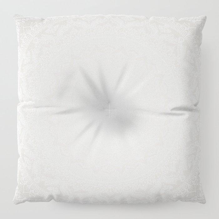 Mandala Soft Gray Floor Pillow