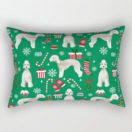 Bedlington Terrier christmas dog pattern gifts dog breed pet friendly design Rectangular Pillow