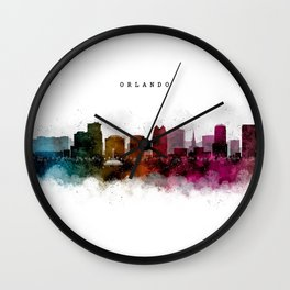 Orlando Watercolor Skyline Wall Clock