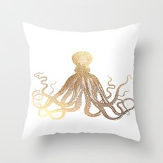 Gold Octopus  Throw Pillow