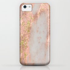 Rose Gold Marble with Yellow Gold Glitter iPhone 5c Slim Case