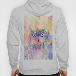 Watercolor eagle owl abstract paint Hoody