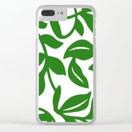 PALM LEAF VINE SWIRL IN GREEN AND WHITE Clear iPhone Case