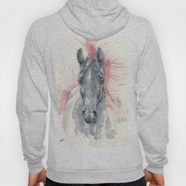 black horse watercolour art Hoody
