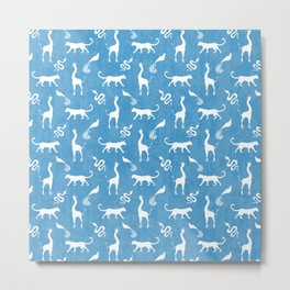 Animal kingdom. White silhouettes of wild animals. African giraffes, leopards, cheetahs. snakes, exotic tropical birds. Tribal primitive ethnic nature blue grunge distressed pattern. Metal Print