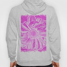White Flower On Hot Pink Crayon Hoody