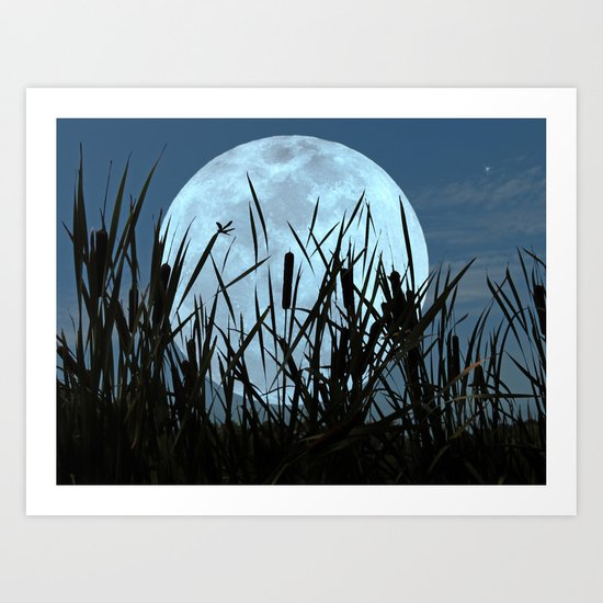 Between the Moon and Marsh Art Print