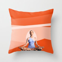 Feminine energy. A woman meditates in the Lotus position. Abstract orange painting. Throw Pillow