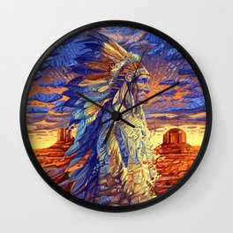 native american colorful portrait Wall Clock