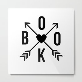 Book with Arrows and Heart Metal Print