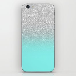 Modern girly faux silver glitter ombre teal ocean color bock iPhone Skin