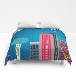 Dallas, Texas - Skyline Illustration by Loose Petals Comforters