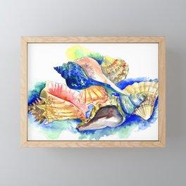 Beach design, Seashell, ocean beach seashell artwork, beach house Framed Mini Art Print