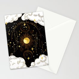 Per Ardua Ad Astra |Sun, Moon and Stars |Divine Witchy Aesthetic Print Stationery Cards