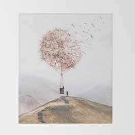 Flying Dandelion Throw Blanket