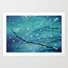 Winter Snow Branches  Art Print