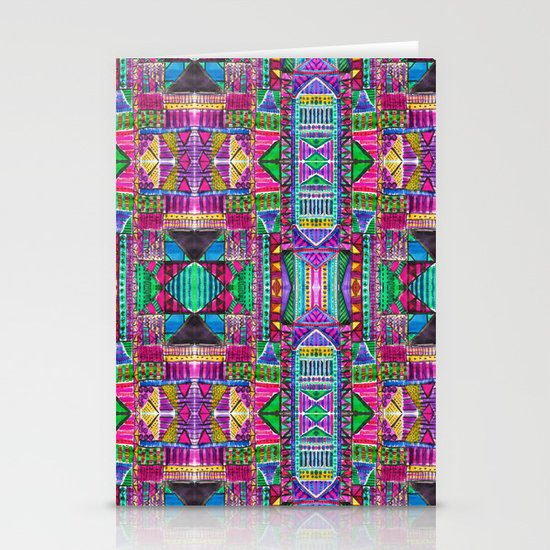 Tribal Patchwork Pink Stationery Cards