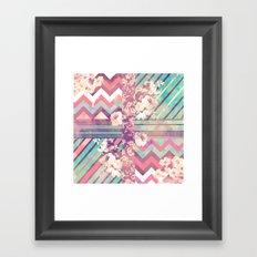 Retro Pink Turquoise Floral Stripe Chevron Pattern Framed Art Print