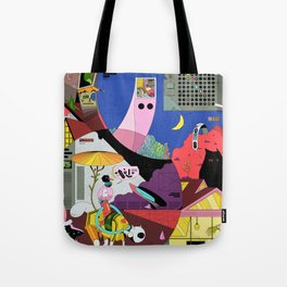 Pita snail and porch cat meet the ghost merchant Tote Bag