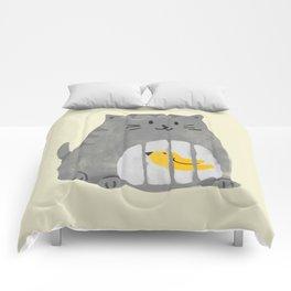 A cat that swallows a bird Comforters