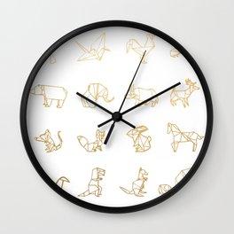 Origami Animals (gold) Wall Clock