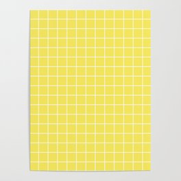 Maize - yellow color - White Lines Grid Pattern Poster