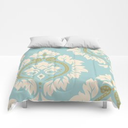 Decorative Damask Art I Cream & Gold on Blue Comforters
