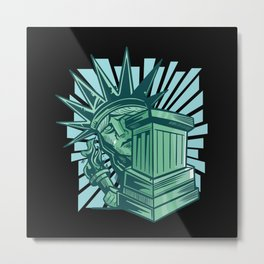 Statue of liberty scared hiding behind base Metal Print