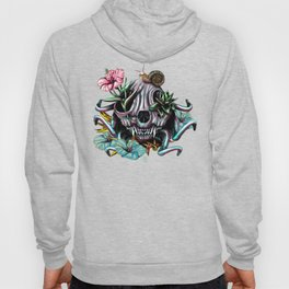 The Skull the Flowers and the Snail CoLoR Hoody
