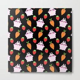 Cute funny Kawaii pink little baby bunnies, happy orange carrots and ripe juicy summer strawberries adorable lovely black fruity pattern design. Nursery decor ideas. Metal Print